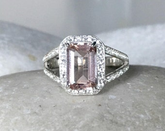 Emerald Cut Morganite Ring- Morganite Engagement Ring- Morganite Promise Ring- Split Band Ring- Halo Rectangle Ring- Pink Stone Silver Ring