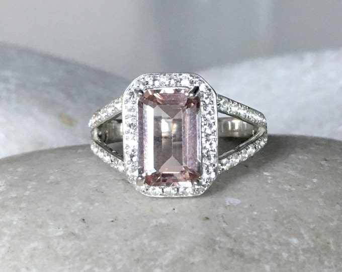 Emerald Cut Morganite Ring- Morganite Engagement Ring- Morganite Promise Ring- Split Band Ring- Halo Rectangle Ring- Pink Stone Silver Ring