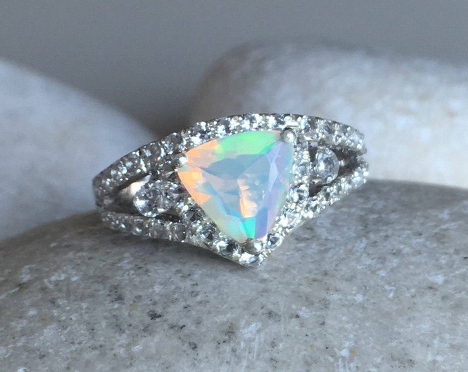 Trillion Opal Engagement Ring- Deco Opal Promise Ring- Split Band Ring- October Birthstone Ring- Sterling Silver Ring- Triangle Opal Ring