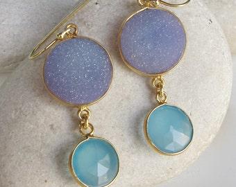 Round Drop Blue Druzy Gold Dangle Long Earring 2 Stone Boho Statement Earring Raw Rough Stone Earring