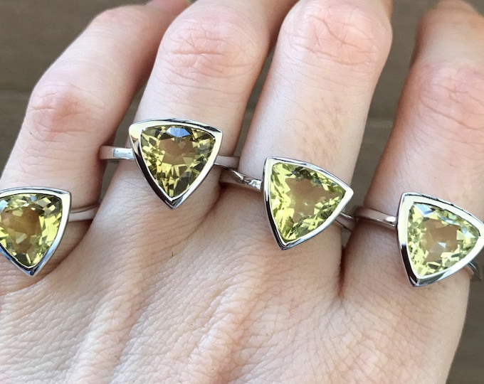 Yellow Boho Statement Ring- Triangle Solitaire Ring- Simple Lemon Quartz Ring- Minimalist Engagement Ring- Promise Ring for Her-Anniversary