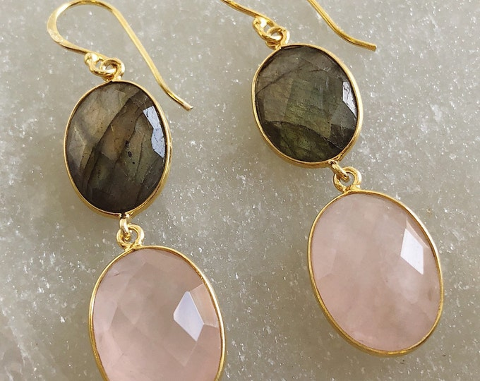 Mesmerizing Labradorite and Pink Dangle Earring, Double Drop Statement Earring, Oval Gemstone Boho Earring- Bohemian Coachella Earring