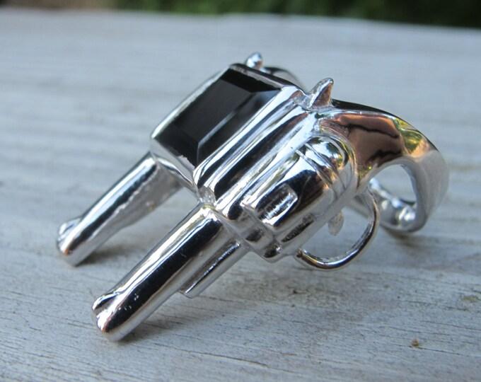 Double Gun Silver Ring- Men's Gun Statement Ring- Unisex Gun Ring- Gifts for Men- Glock Rifle with Black Onyx Ring- Revolver Ring-
