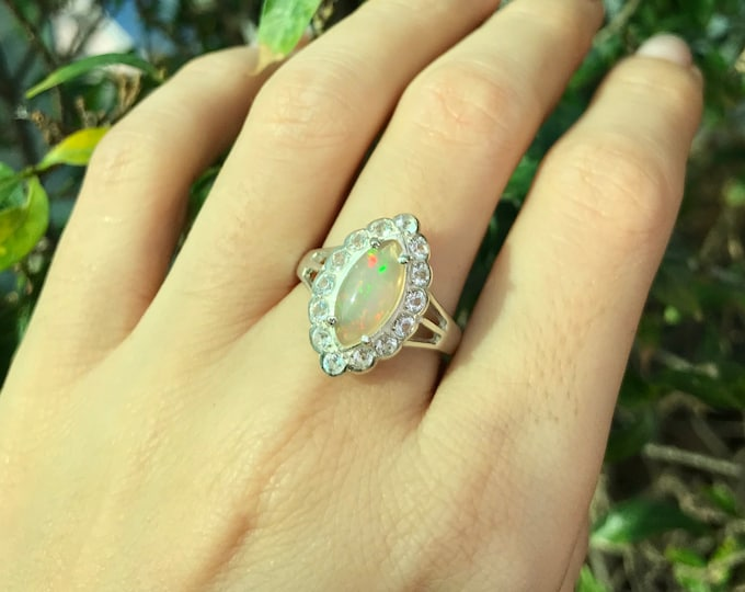 Opal Vintage Engagement Ring- Opal Marquise Promise Deco Ring- Navette Opal Anniversary Ring-October Birthstone Ring- Scallop Halo Opal Ring