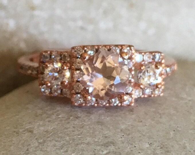 Morganite Rose Gold Ring- Morgantite Bridal Engagement Ring Set- Deco Round Pink 3 Ring Set- Vintage Inspired Morganite Promise Ring