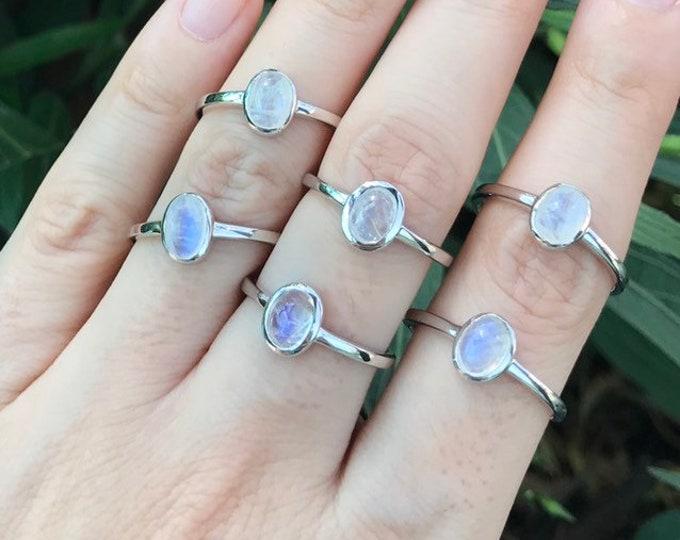 Oval Moonstone Stack Ring- Rainbow Moonstone Dainty Ring- Gypsy Boho Ring for Teen Child- June Birthstone Ring- Smooth Simple Moonstone Ring
