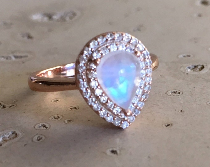Teardrop Moonstone Halo Engagement Ring- Rose Gold Rainbow Moonstone Promise Ring- Pear Facet Moonstone Solitaire Ring- June Birthstone Ring