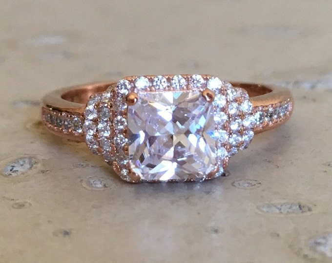 1.70ct Vintage Princess Simulant Diamond Women Engagement Ring- Art Deco Unique Colorless Promise Ring for Her- Clear Stone Anniversary Ring