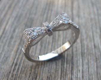 Sterling Silver Bow Ring- Bohemian Bow Ring- Gifts for Wife- Statement Bow Ring- Jewelry Gifts for Her- Promise Ring for Her
