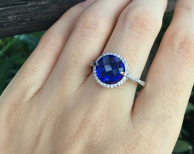Lab Blue Sapphire Round Halo Engagement Ring- Royal Blue Sapphire Promise Ring for Her-Blue Stone Anniversary Ring-September Birthstone Ring