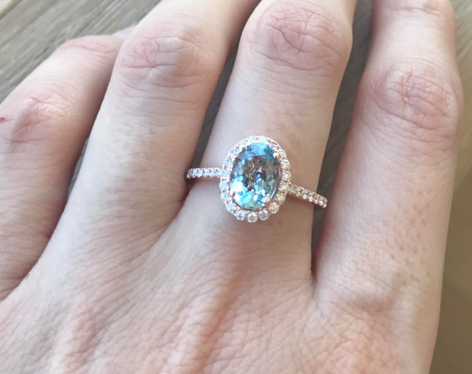 Rose Gold Aquamarine Ring- 1 carat Aquamarine Engagement Ring- Halo Promise Ring for Her- March Birthstone Ring- 14k Rose Gold Ring