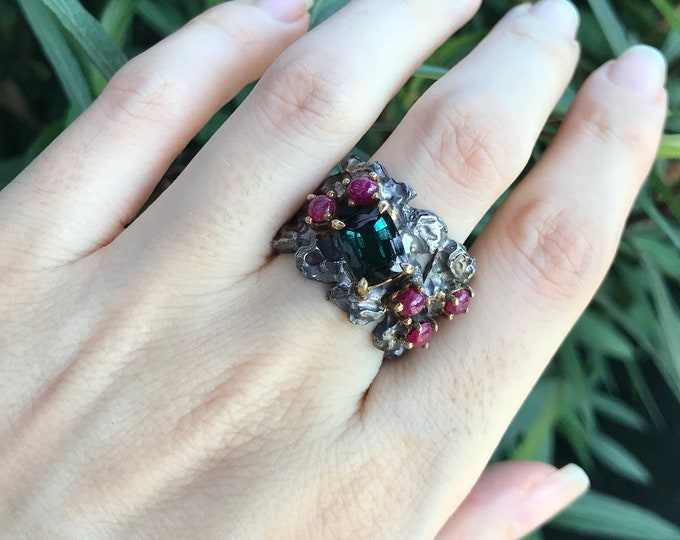 Statement Rustic Cluster Gothic Wide Band- Green Tourmaline Ruby MultiStone Textured Oxidized Band- One of A Kind Unisex Artisan Jagged Band