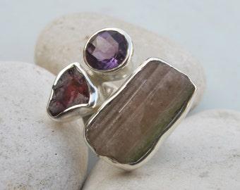 Raw Tourmaline Garnet Statement Ring- Raw Stone Crystal Ring- Multistone Rough Gemstone Ring- Large Boho Ring Cluster Ring All Sizes 9 10