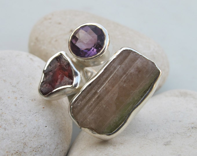 Raw Tourmaline Garnet Statement Adjustable Ring- Raw Multistone Rough Bold Gemstone Ring- Large Boho Ring Cluster Ring All Sizes 9 10
