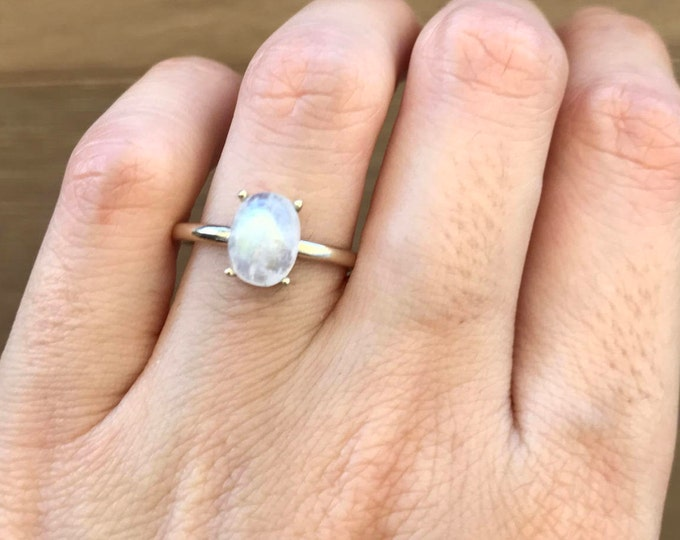Rainbow  Moonstone Engagement Ring- Moonstone Promise Ring- Simple 4 Prong Ring- Solitaire June Birthstone Ring- Oval Wedding Ring