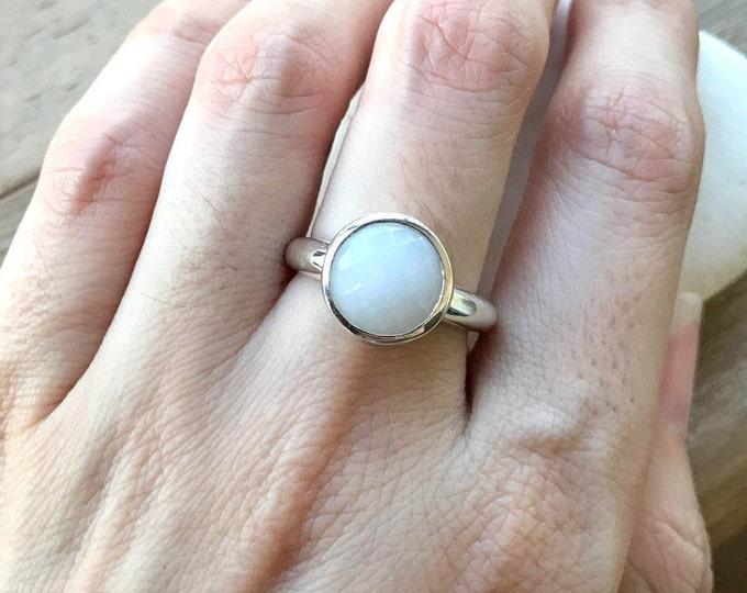White Agate Stone Ring- White Gemstone Ring- Round White Ring- Facet White Stack Ring