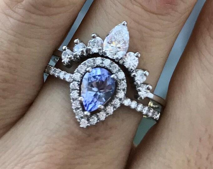 Genuine Tanzanite Teardrop Engagement Ring Set- Natural Tanzanite Pear Promise Ring- Halo Tanzanite Bridal Ring Set-December Birthstone Ring