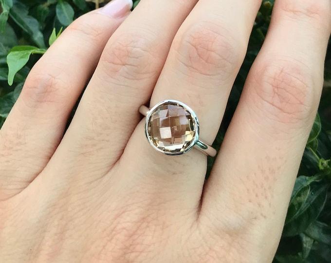 Champagne Citrine Ring- Stack Minimalist Yellow Topaz Ring- November Birthstone Ring- Round Gemstone Ring- Simple Sterling Silver Ring