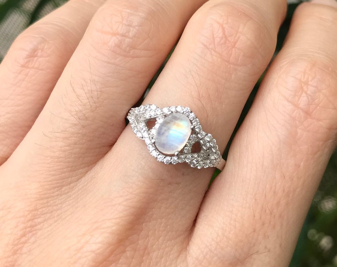 1ct Moonstone Deco Swirl Ring- Cabochon Moonstone Oval Engagement Ring- Rainbow Moonstone Edwardian Anniversary Ring- June Birthstone Ring