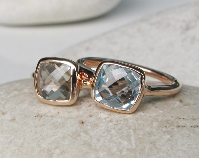 Rose Gold Square Gemstone Stackable Ring- Blue Topaz Amethyst Birthstone Rings- 2 Stone Ring Set
