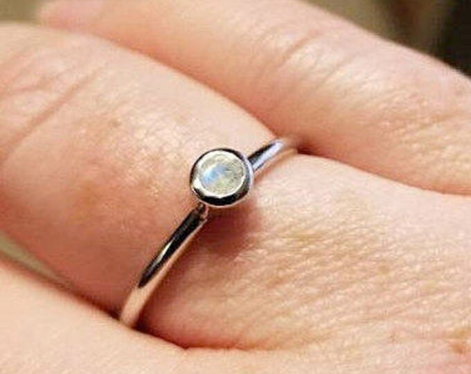 Moonstone Dainty Stackable Ring- Gifts under 25- Genuine Tiny Rainbow Moonstone Ring for Children Teen- Facet Round Silver Bezel Ring