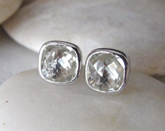 Square Green Amethyst Earring- Light Green Stud Earring- Cushion Square Shape Earring- February Birthstone Earring- Sterling Silver Earring