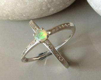 X Ring Opal Criss Cross Ring minimalist opal ring cross band