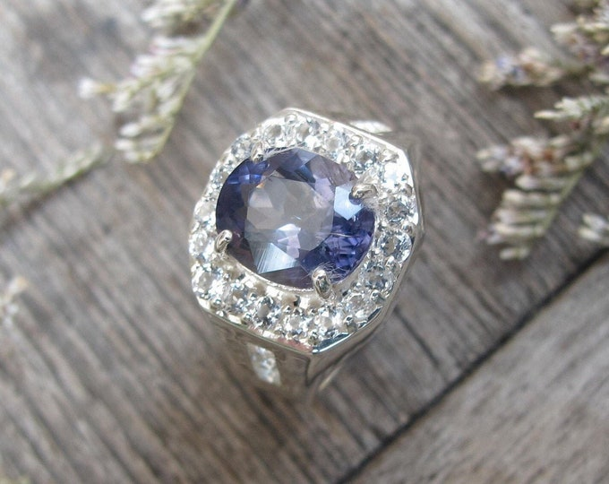 Genuine Iolite Oval Silver Engagement Ring- Natural Iolite Halo White Topaz Promise Ring- Bluish Purple Gemstone Solitaire Ring