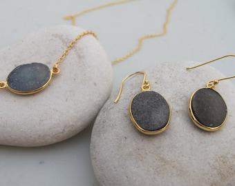 Oval Black Druzy Necklace Earring- Black Druzy Jewelry Set - Black Simple Gemstone Jewelry- Black Stone Necklace Bracelet Set-