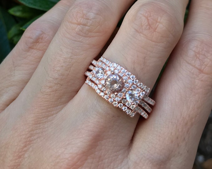 Genuine Morganite Rose Gold Vintage 3 Ring Set- Natural Morganite Bridal Engagement Deco Ring Set- Round Morganite 3 Stone Anniversary Ring
