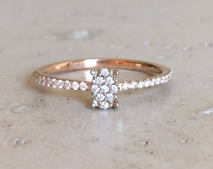 Dainty Engagement Diamond Cluster Ring- Thin Micro Pave Diamond Delicate Engagement Ring- Rose White Gold Minimalist Engagement Ring