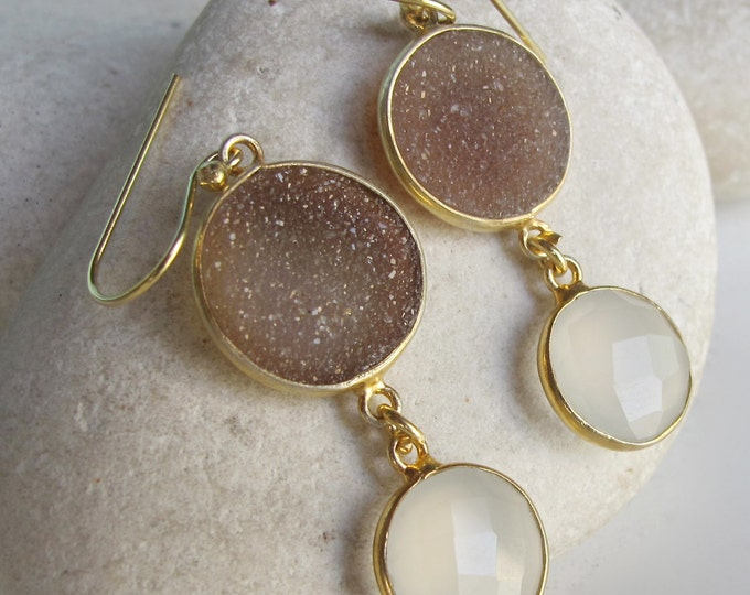Druzy Earring Gold Brown White Earring 2 Double Drop Dangle Earring Boho Handmade Real Druzy Circle Long Earring