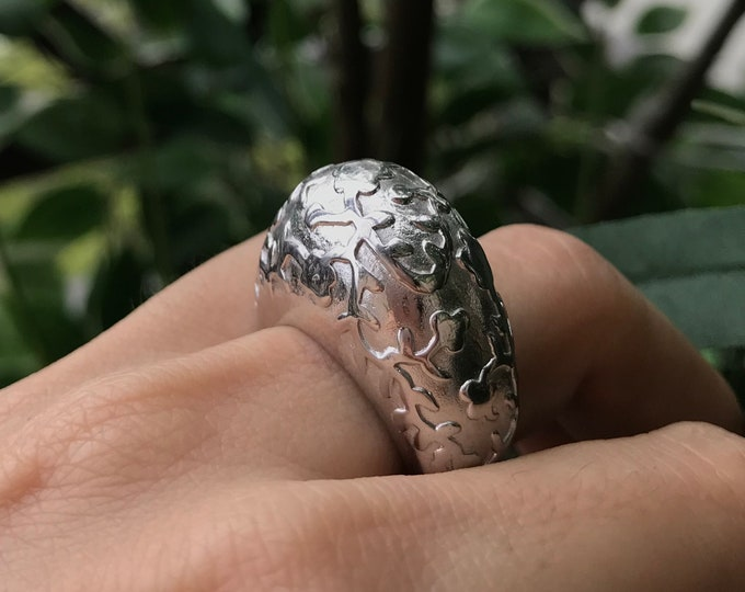 Floral Statement Large Sterling Silver Ring