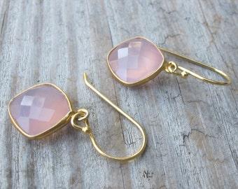Quartz Earring- Rose Quartz Dangle Earrings- Pink Earrings- Pink Quartz Earrings- Chalcedony Earrings Stone Earrings- Bridesmaids Earring