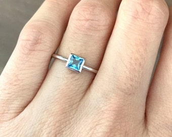 Swiss Blue Topaz Dainty Square Ring- Something Blue Stackable Silver Ring- Layer Ring for Teen Children- Small Simple Minimalist Ring