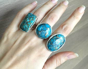 Statement Blue Turquoise Ring- December Birthstone Ring- Blue Gemstone Ring- Solitaire Double Band Turquoise Silver Ring- Boho Gypsy Ring