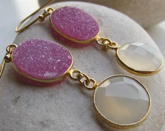 Pink Gemstone Earring- Gemstone Earring- Moonstone Earring- Statement Earring- Stone Earring- Quartz Earring- Pink Topaz Earring- Earring