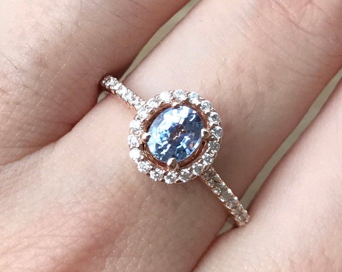 0.65ct Oval Blue Sapphire Rose Gold Promise Ring- Light Blue Sapphire Halo Diamond Engagement Ring-Genuine Natural Sapphire Anniversary Ring