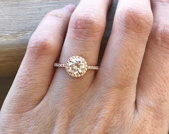 Rose Gold Ring- Cubic Zirconia Engagement Ring- Round Halo Ring- Promise Ring- Silver Ring- Anniversary Ring- Gemstone Ring- Rings for Her