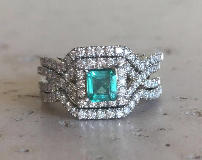 Princess Emerald Engagement Ring Set- Genuine Natural Emerald Ring- Rose Gold Edwardian Bridal Ring Set- Square Emerald 3 Piece Ring Set