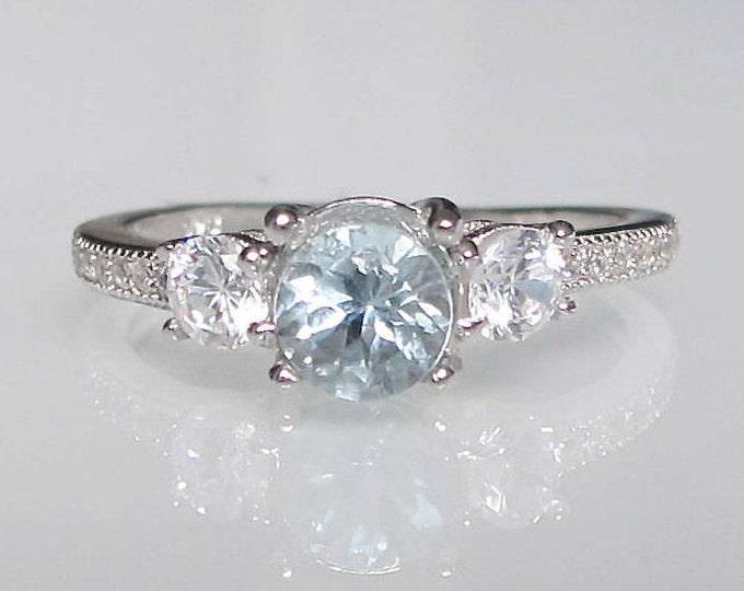 Aquamarine Engagement Ring- Aqumarine Promise Ring- Three Stone Anniversary Ring- March Birthstone Ring- Aqua Blue Stone Ring