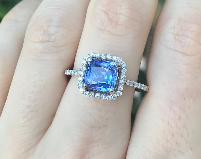 Natural Blue Sapphire Cushion Engagement Ring- Genuine Sapphire Gold Ring- Halo Sapphire with Diamond Promise Ring- Cornflower Sapphire Ring