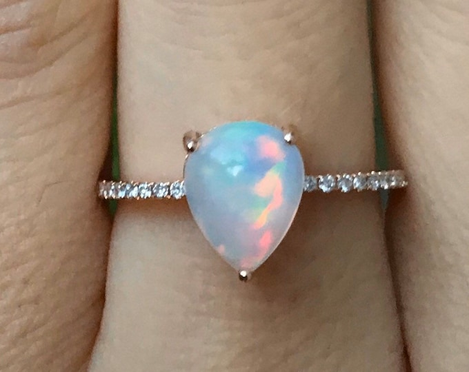 1 Carat Teardrop Opal Engagement Ring- Opal Cabochon Genuine Promise Ring For Her- Fiery Welo Opal Solitaire Ring- October Birthstone Ring