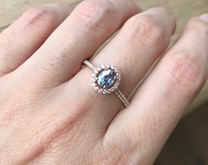 Oval Blue Sapphire Rose Gold Ring- Light Blue Sapphire Halo Engagement Ring- Genuine Natural Sapphire Diamond Ring- Sapphire Diamond Ring