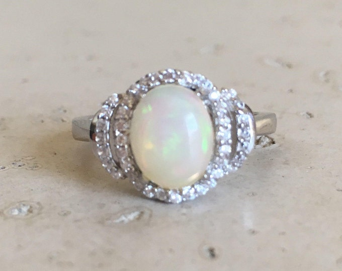 Oval Opal Engagement Ring- Halo Opal Promise Ring- Cabochon Opal Wedding Ring- Genuine Fire Opal Ring- October Birthstone Ring