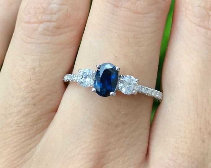 Oval Blue Sapphire Anniversary Ring- Dark Blue Sapphire Promise Ring- Deco Genuine Sapphire Engagement Ring- Three Stone Ring