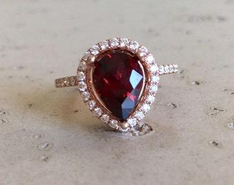 Garnet Engagement Ring Halo Red Gemstone Engagement Ring Handmade Large Pear Rose Gold Garnet January Birthstone Ring