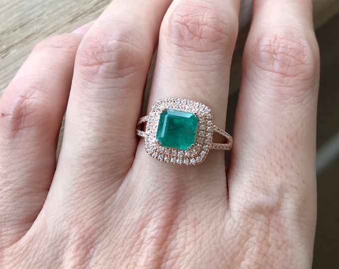 Emerald Engagement Ring Natural Emerald Engagement Ring Princess Emerald Ring Halo Square Double Band Engagement Ring Rose Gold Emerald Ring