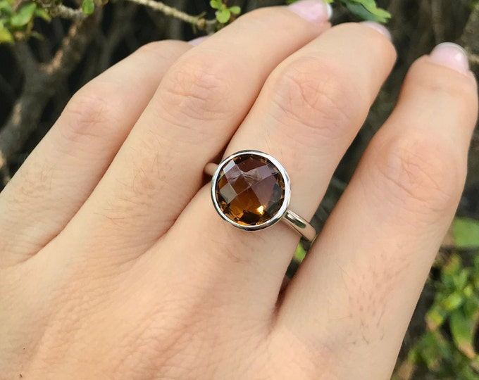 Solitaire Smoky Quartz Ring- Stackable Gemstone Ring- Brown Stone Ring- Gifts For Her- Faceted Ring- Smoky Topaz Ring- Sterling Silver Ring