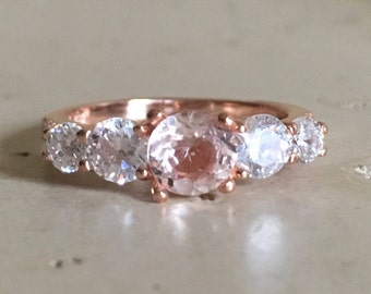 Rose Gold Engagement Ring- Morganite Promise Ring- Morganite Anniversary Ring- Pink Solitaire Deco Ring- Alternative Diamond Engagement Ring